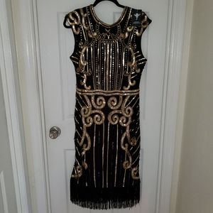 NEW Gorgeous Sequined Vijiv Dress w/Black Fringe